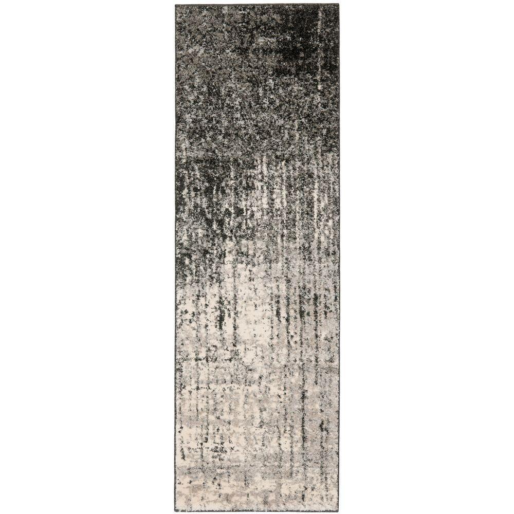 Retro Black/Light Grey 2 ft. 3 in. x 7 ft. Runner