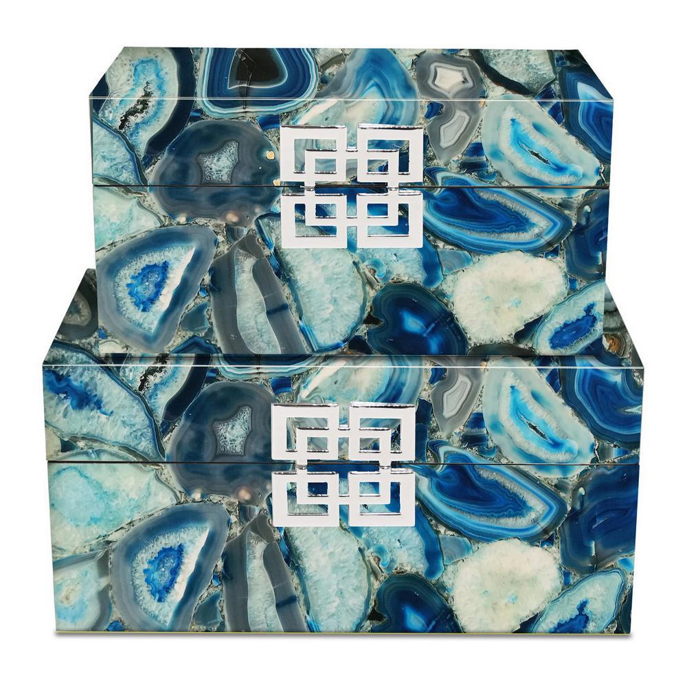 13.5 in. x 7.5 in. x 6.75 in. Resin Decorative Box in Blue / Black Marbled Design (Set of 2)