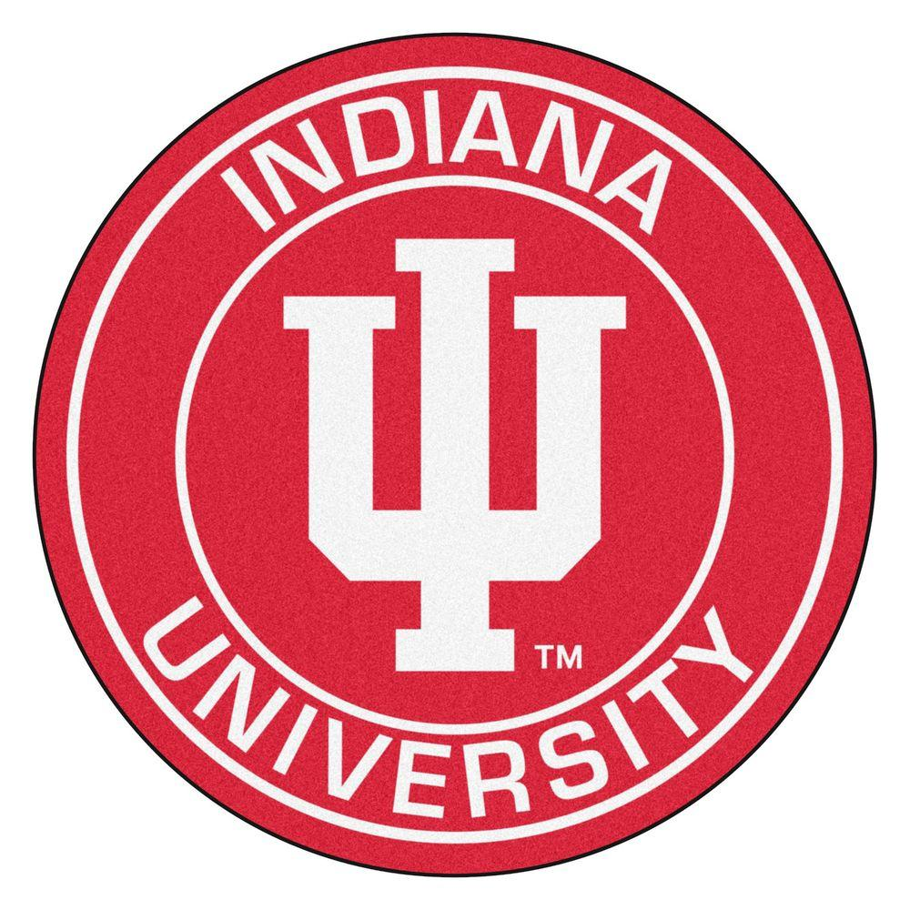 Fanmats Ncaa Indiana University Red 2 Ft X 2 Ft Round Area Rug