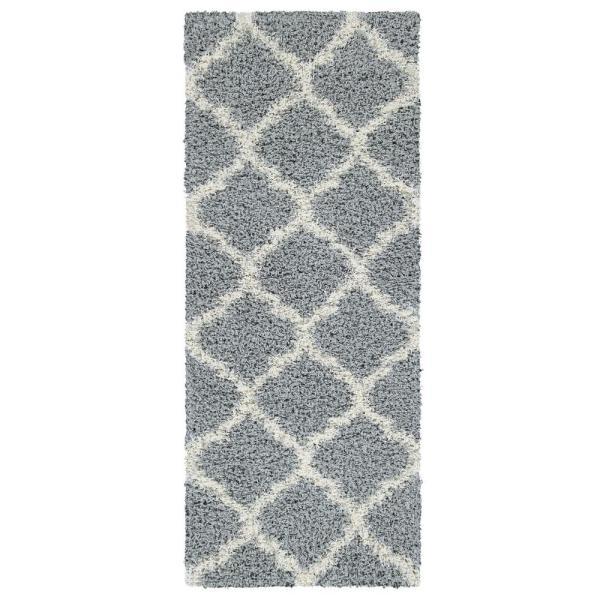Cozy Shag Collection Gray/Cream Moroccan Trellis Design 3 ft. x 8 ft. Contemporary Shag Runner Rug