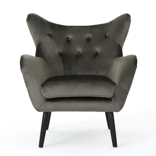 Seigfreid Grey and Black Velvet Arm Chair