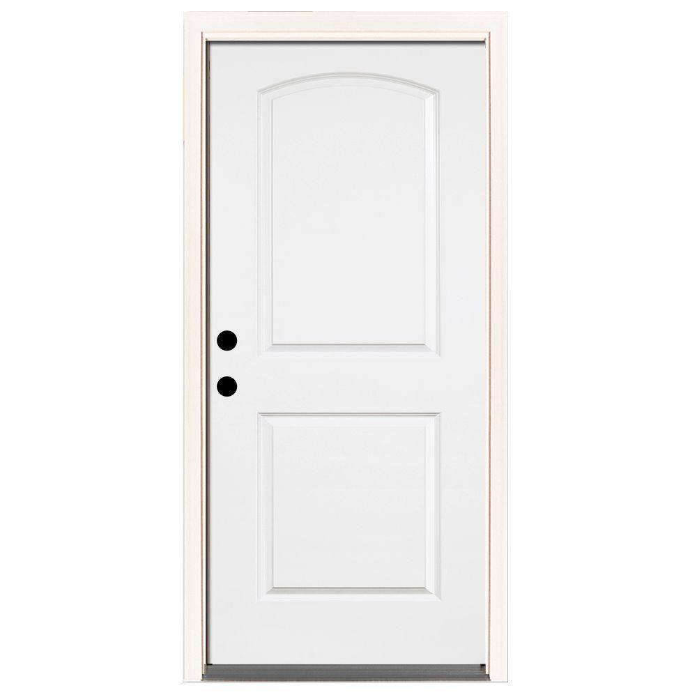 32 in. x 80 in. Premium 2-Panel Arch Primed White Steel