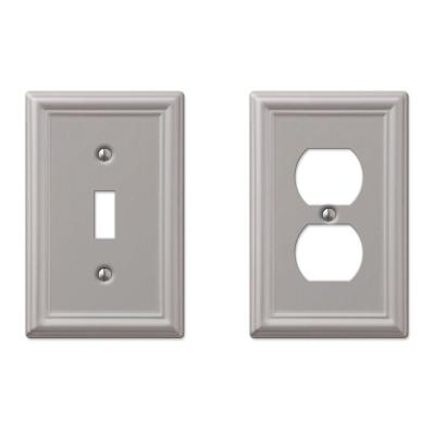 Ascher 1 Gang Toggle and 1 Gang Duplex Steel Wall Plate Combo Pack - Brushed Nickel