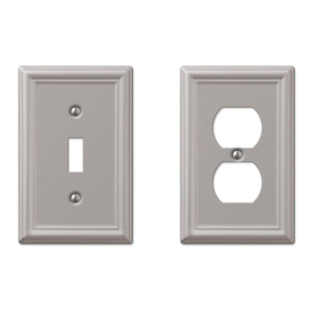 hamptonbay Hampton Bay Ascher 1-Toggle Wall Plate and Ascher 1-Duplex Outlet Plate, Brushed Nickel Steel