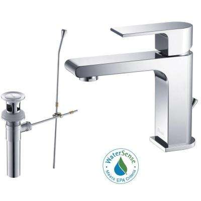 Danube Single Hole Single-Handle Lead Free Solid Brass Bathroom Faucet in Chrome with Drain Kit