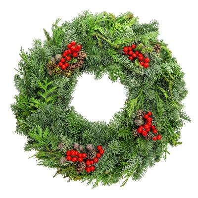 22 in. Fresh Mixed Medley Christmas Wreath with Noble Fir, Cedar, Juniper, Cones and Berries