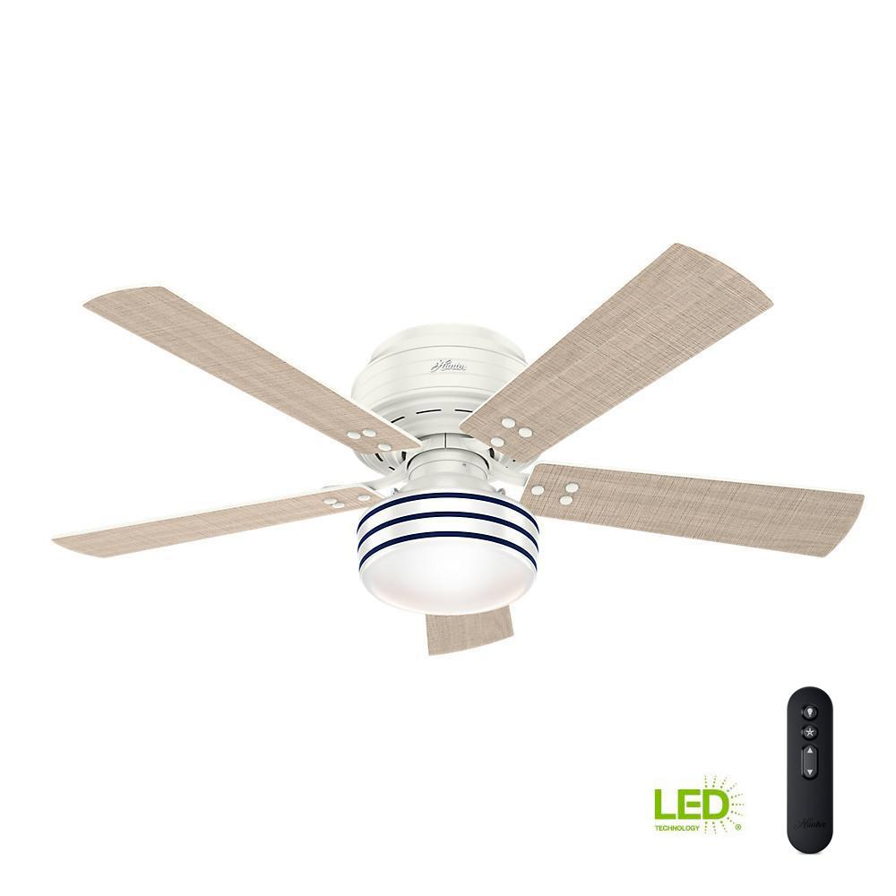 Indoor Outdoor Fresh White Low Profile Ceiling Fan With