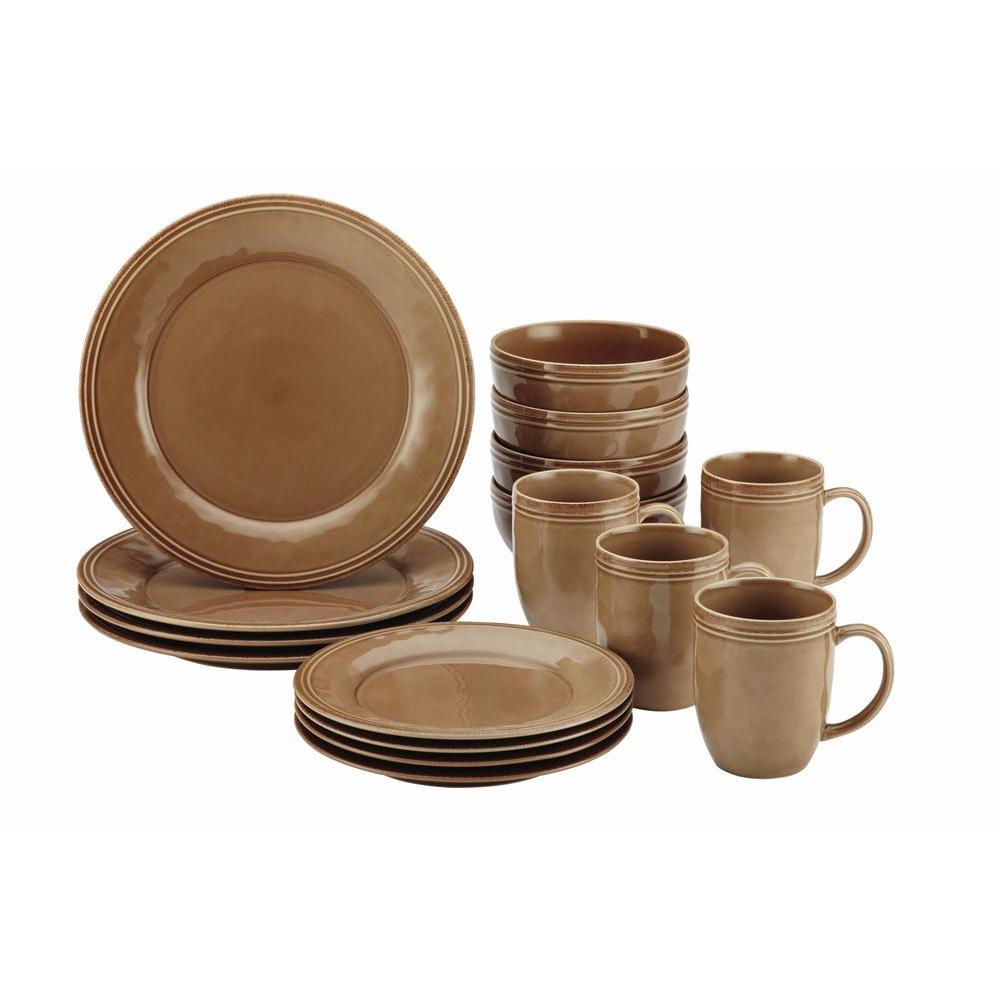 Rachael Ray Cucina Dinnerware 16-Piece Stoneware Dinnerware Set in Mushroom Brown by Rachael Ray