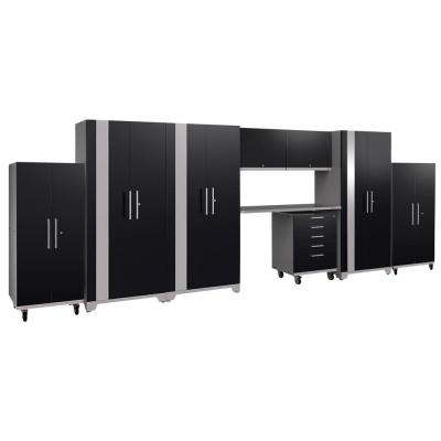 Performance Plus 2.0 80 in. H x 225 in. W x 24 in. D Steel Garage Cabinet Set in Black (9-Piece)