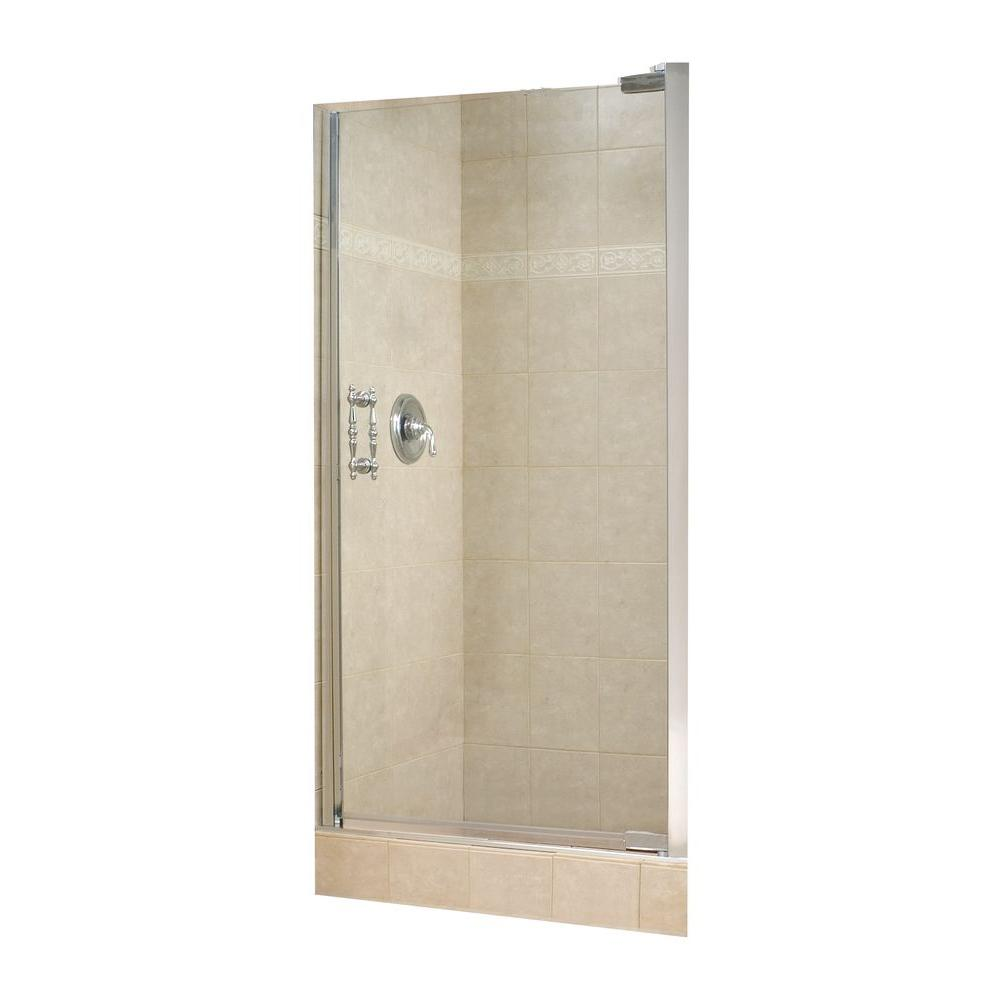 MAAX Alexa 36-1/2 in. x 67-1/4 in. Semi-Framed Pivot Shower Door in Chrome with 10 mm Clear Glass