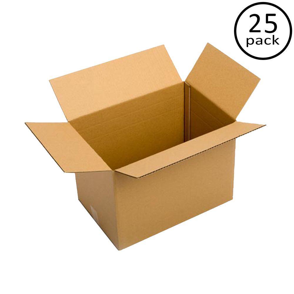 Plain Brown Box 17 in. x 12 in. x 12 in. Multi-depth 25-Box Bundle