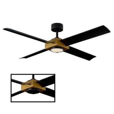 Paradox 56 in. LED Indoor/Outdoor Aged Brass 4-Blade Smart Ceiling Fan with 3000K Light Kit and Wall Control