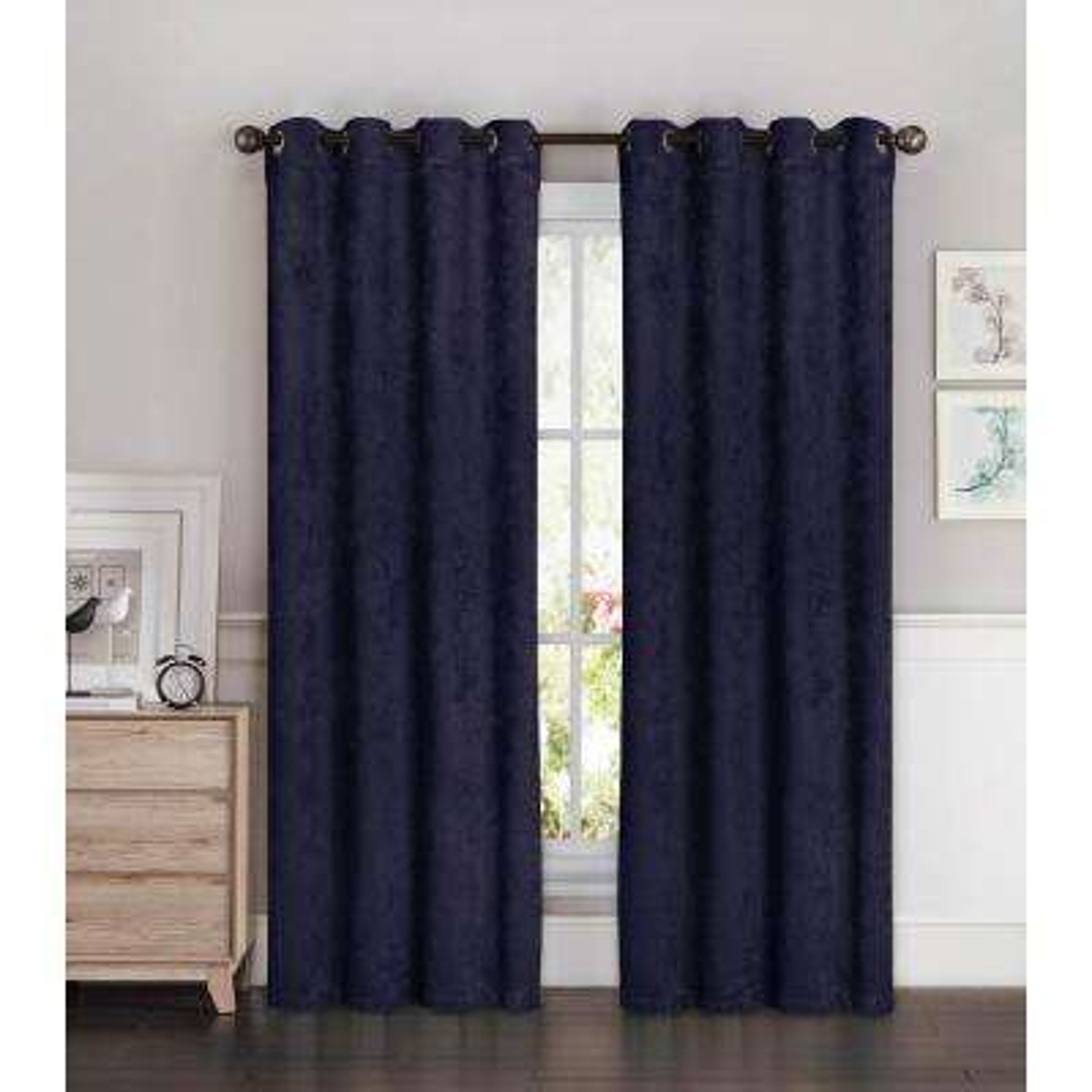 Blackout Faux Suede 54 in. W x 84 in. L Room Darkening Grommet Extra Wide Curtain Panel in Indigo