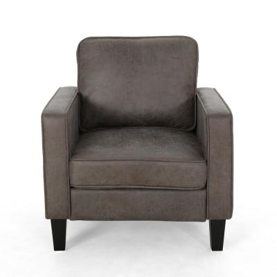 Beeman Slate and Dark Brown Microfiber Club Chair