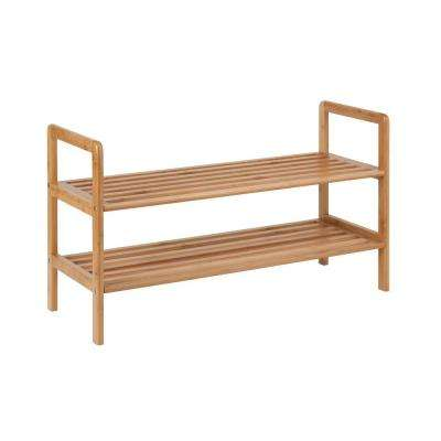 2-Tier 8-Pair Bamboo Shoe Shelf