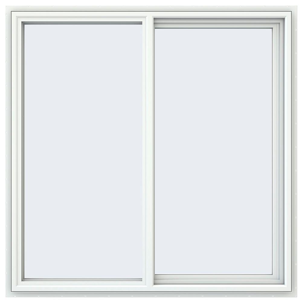 JELD-WEN 47.5 in. x 47.5 in. V-4500 Series White Vinyl Right-Handed Sliding Window with Fiberglass Mesh Screen