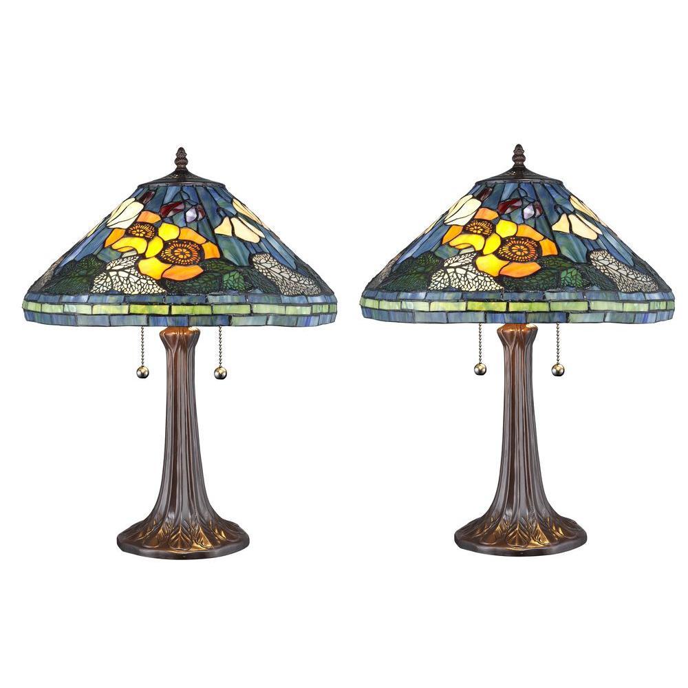 Tiffany Golden Poppy 23 in. Bronze Table Lamp Set