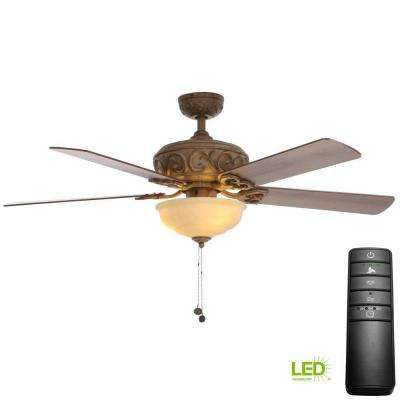 Palisades 52 in. LED Tuscan Bisque Ceiling Fan with Light Kit and Remote Control