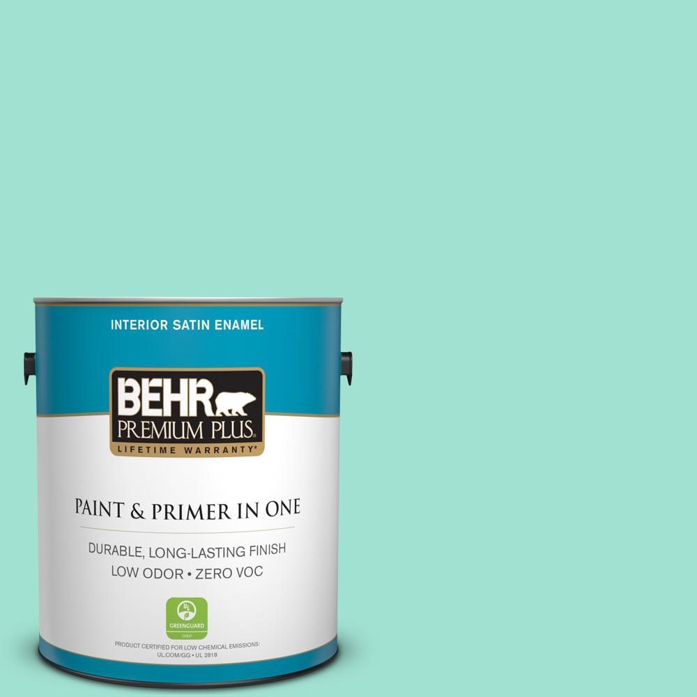 BEHR Premium Plus 1-gal. #P430-2 Aqua Wish Satin Enamel Interior Paint