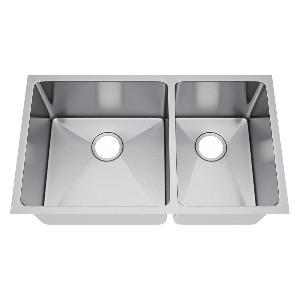 All-in-One Undermount Stainless Steel 33 in. 60/40 Double Bowl Kitchen Sink