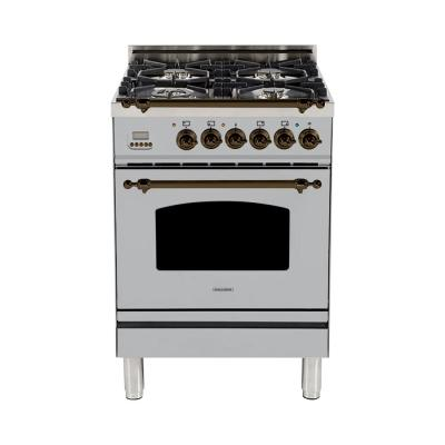 24 in. 2.4 cu. ft. Single Oven Dual Fuel Italian Range True Convection,4 Burners, LP Gas, Bronze Trim in Stainless Steel