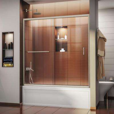 Infinity-Z 56 in. to 60 in. x 58 in. Semi-Frameless Sliding Tub Door in Brushed Nickel