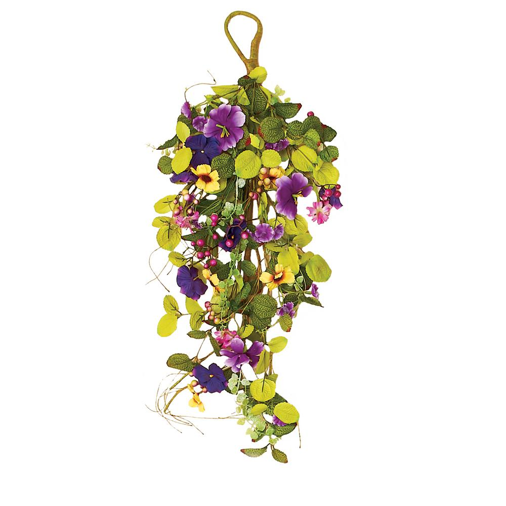 Worth Imports 24 in. Purple Mixed Teardrop with Pansy