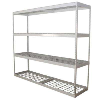 24 in. D x 84 in. H x 96 in. W 4-Shelf Powder Coated Steel Freestanding Shelving Unit