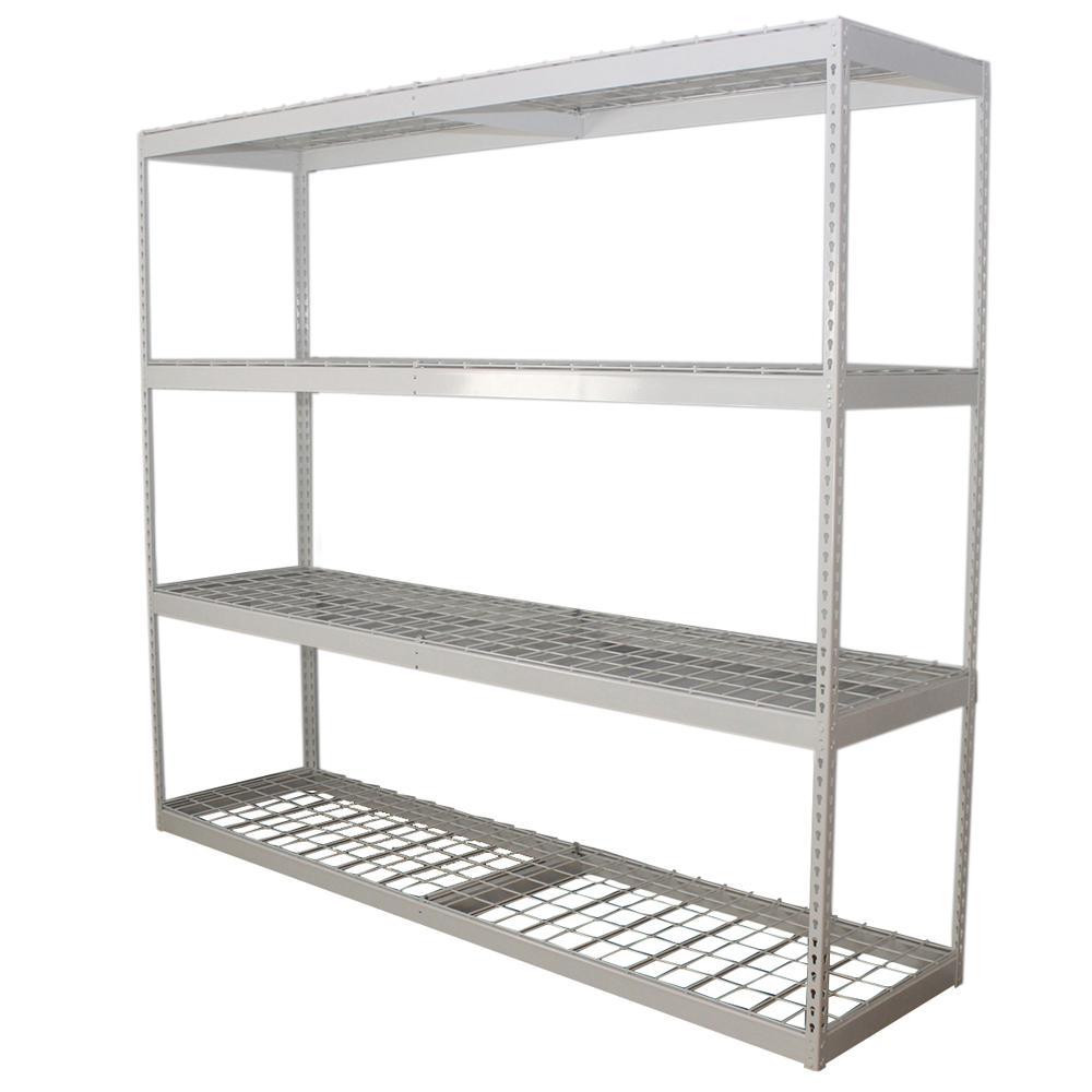 24 in. D x 84 in. H x 96 in. W 4-Shelf Powder Coated Steel Freestanding Shelving Unit