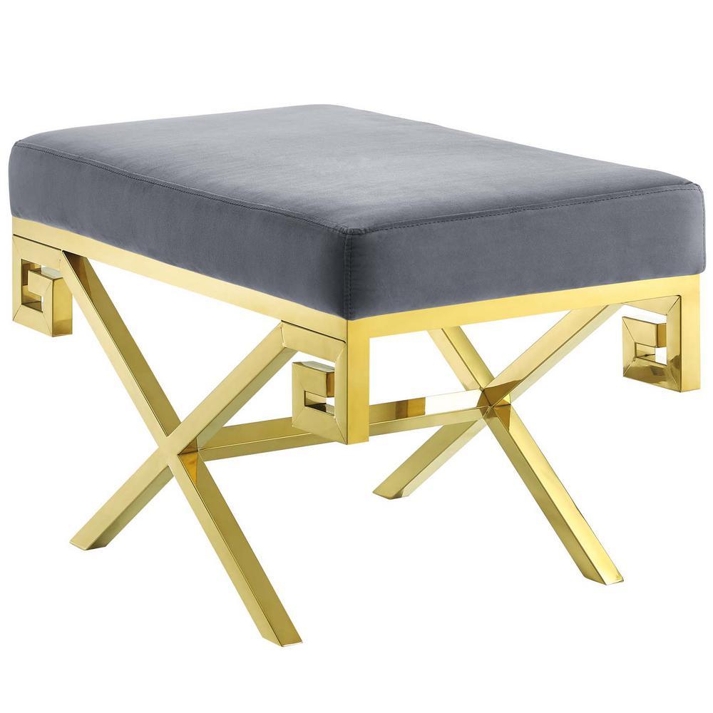 Gold Gray Rove Velvet Bench