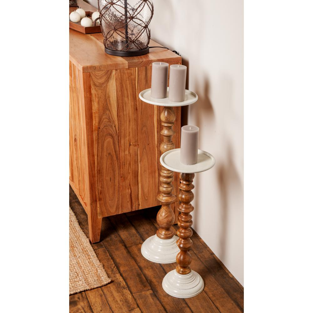 Brown Mango Wood Segmented Candle Holders with Silver Aluminum Bobeche and