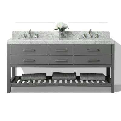 Elizabeth 72 in. W x 22 in. D Vanity in Sapphire Gray with Marble Vanity Top in Carrera White with White Basins