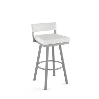 Travis 26 in. Labyrinth Fabric / Silver Grey Metal Swivel Counter Stool