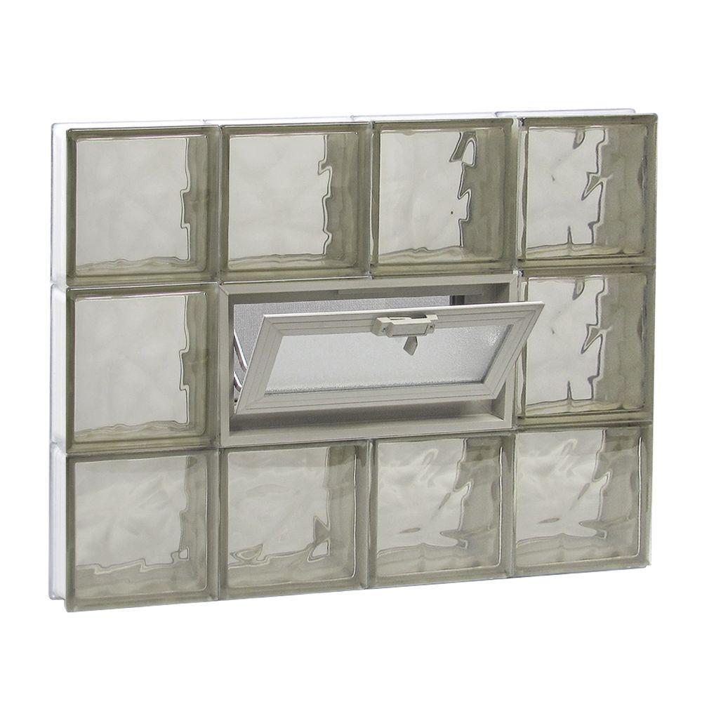 31 in. x 23.25 in. x 3.125 in. Frameless Wave Pattern Vented Bronze Glass Block Window