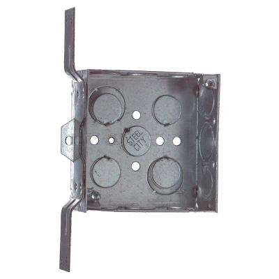 2-Gang 4 in. New Work Square Metal Electrical Box with Bracket (Case of 25)