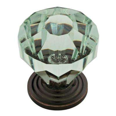 1-1/4 in. (32mm) Statuary Bronze with Celadon Faceted Acrylic Cabinet Knob