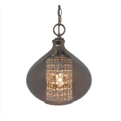 1-Light Smoke Pendant with Faceted Crystal Glass Jewels