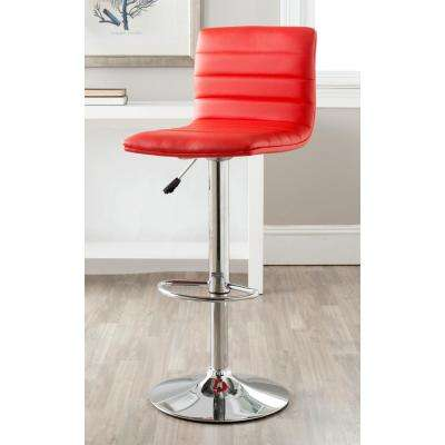 Arissa 23.8 to 29.9 Adjustable Height Swivel Bar Stool in Red