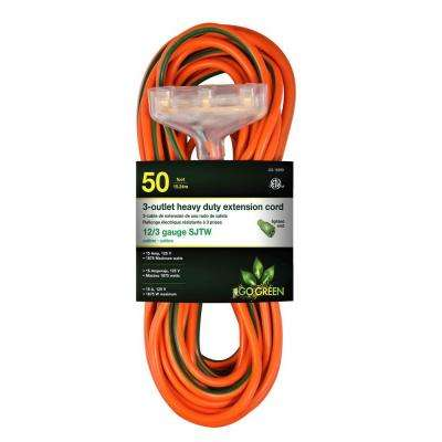 50 ft. 3-Outlet 12/3 Heavy Duty Extension Cord - Orange