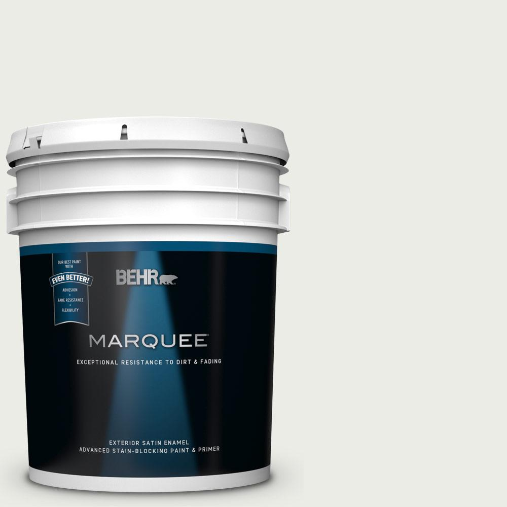 BEHR MARQUEE 5 gal. #52 White Satin Enamel Exterior Paint and Primer in One
