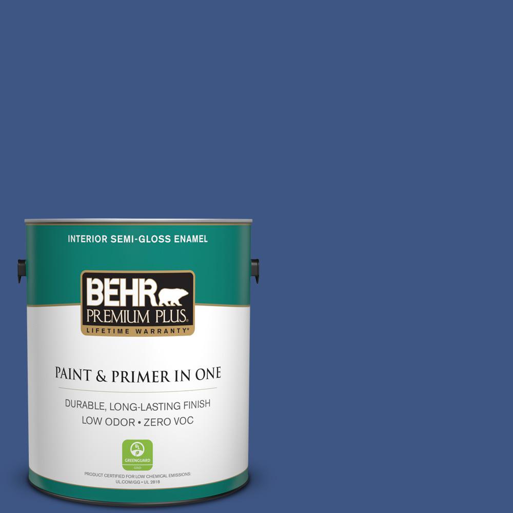 BEHR Premium Plus 1-gal. #600B-7 Yacht Club Blue Zero VOC Semi-Gloss Enamel Interior Paint