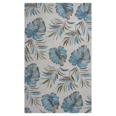 Palm Serenity Ivory/Blue 3 Ft. 3 In. X 5 Ft. 3