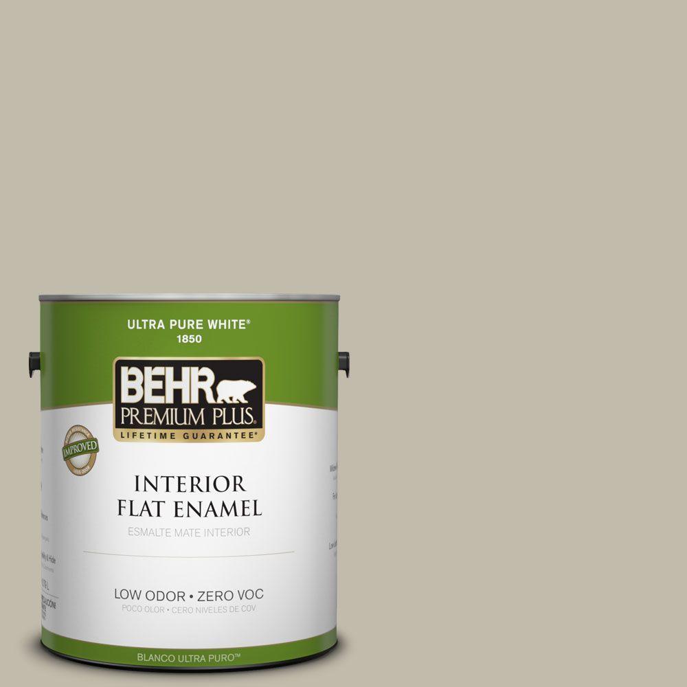 BEHR Premium Plus Home Decorators Collection 1-gal. #HDC-FL13-10 Wilderness Gray Flat Enamel Interior Paint-DISCONTINUED