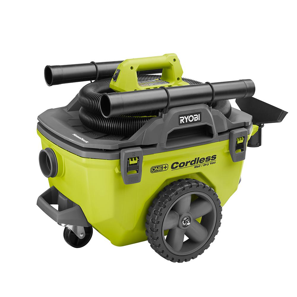 Ryobi 18-Volt ONE+ 6 Gal. Cordless Wet/Dry Vacuum (Tool Only) with Hose, Crevice Tool, Floor Nozzle and Extension Wand