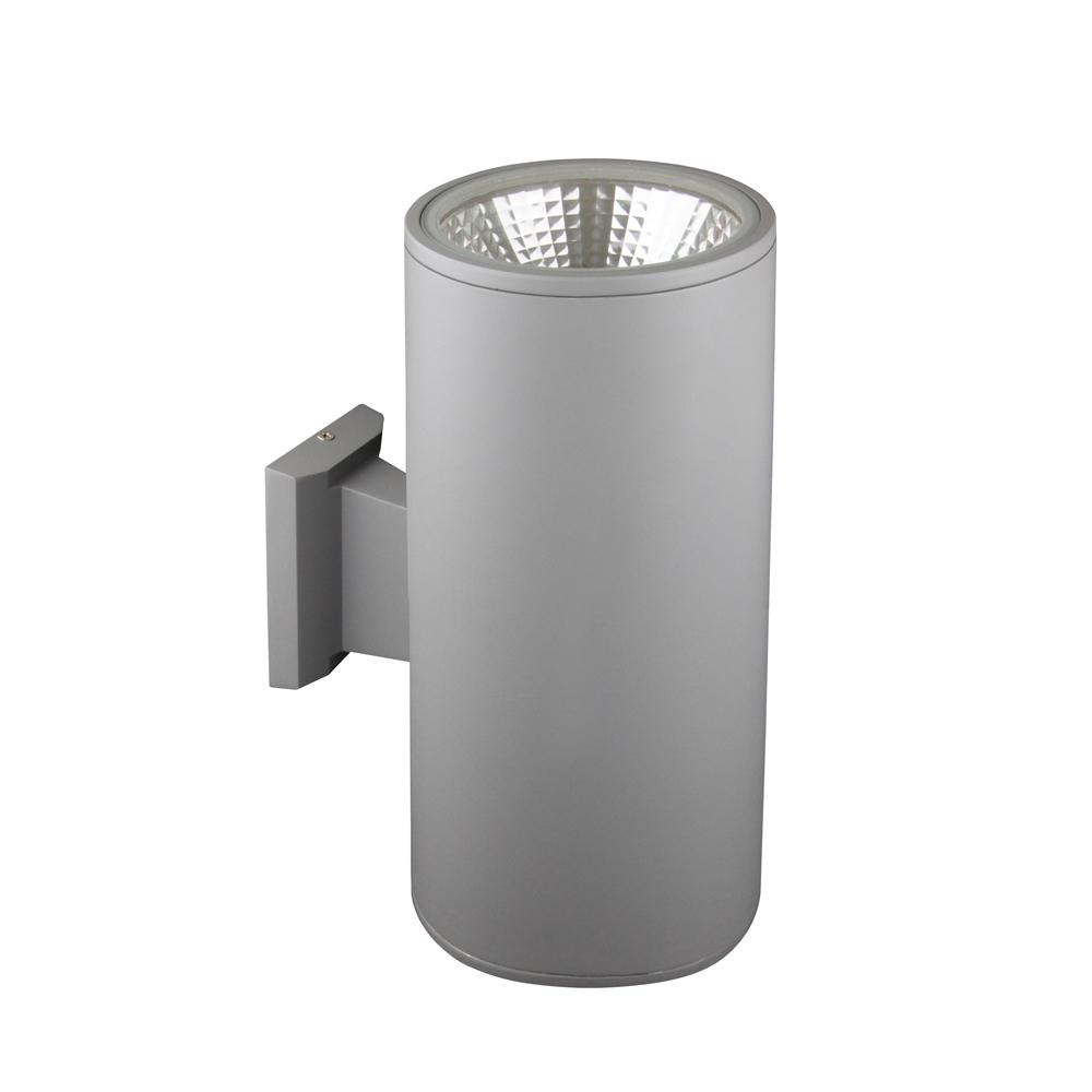 2-Light Grey Integrated LED Outdoor Wall Mount Cylinder Light
