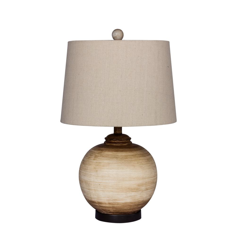 24 in. 2-Tone Weathered Resin Urn Table Lamp in Beige and White