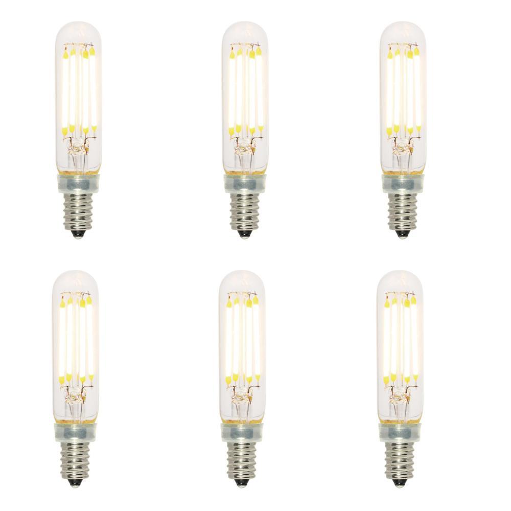 40-Watt Equivalent T6 Dimmable Filament LED Light Bulb Soft White (6-Pack)