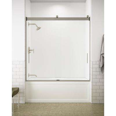 Levity 59 in. x 62 in. Semi-Frameless Sliding Tub Door in Nickel with Handle