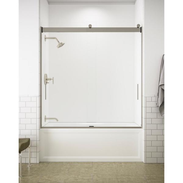 Kohler Levity 59 In X 62 In Semi Frameless Sliding Tub Door In Nickel With Handle K 706000 L Mx The Home Depot