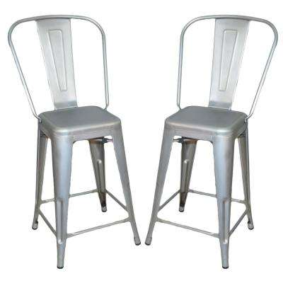 Adeline 24 in. Galvanized Metal Counter Stool (Set of 2)